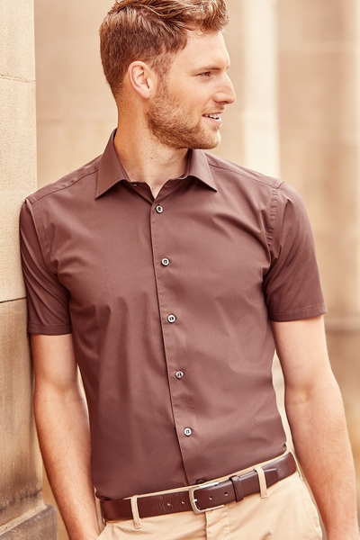 SHORT SLEEVE FITTED STRETCH SHIRT